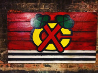 Wooden Chicago Blackhawks Flag