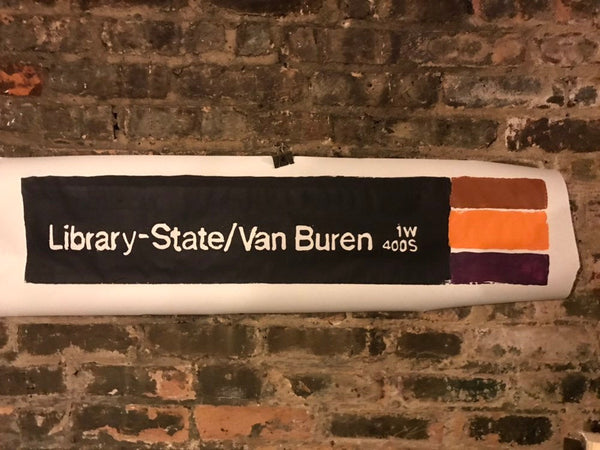 Library-State Orange/Brown/Purple Line CTA Sign