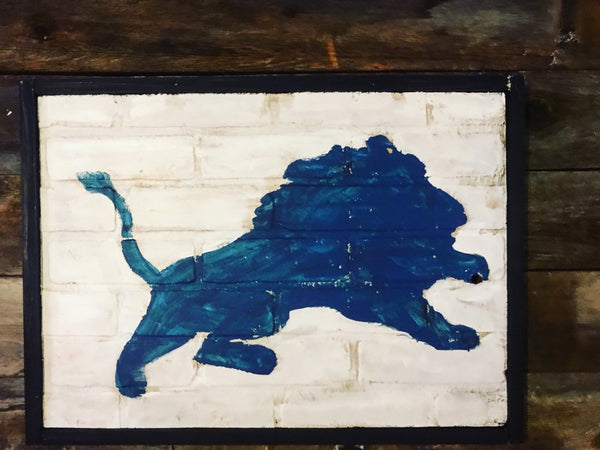 Detroit Lions Sign, City of Detroit, Lions Art, Detroit, Vintage Sign, Vintage Detroit Sign, Lions Sign, wooden signs, Football Art