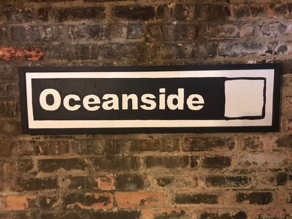 Oceanside White Line Subway Sign