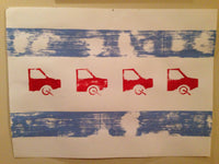 "The Boot (22""x30""), boot, chicago, parking, meters, tickets, fines, cars, trucks, Laz, handmade, wall, art, print, flag, red, blue"