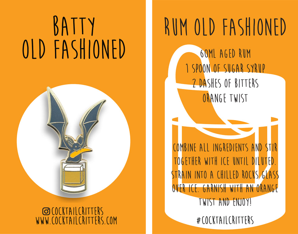 Bat x Rum Old Fashioned Hard Enamel Pin