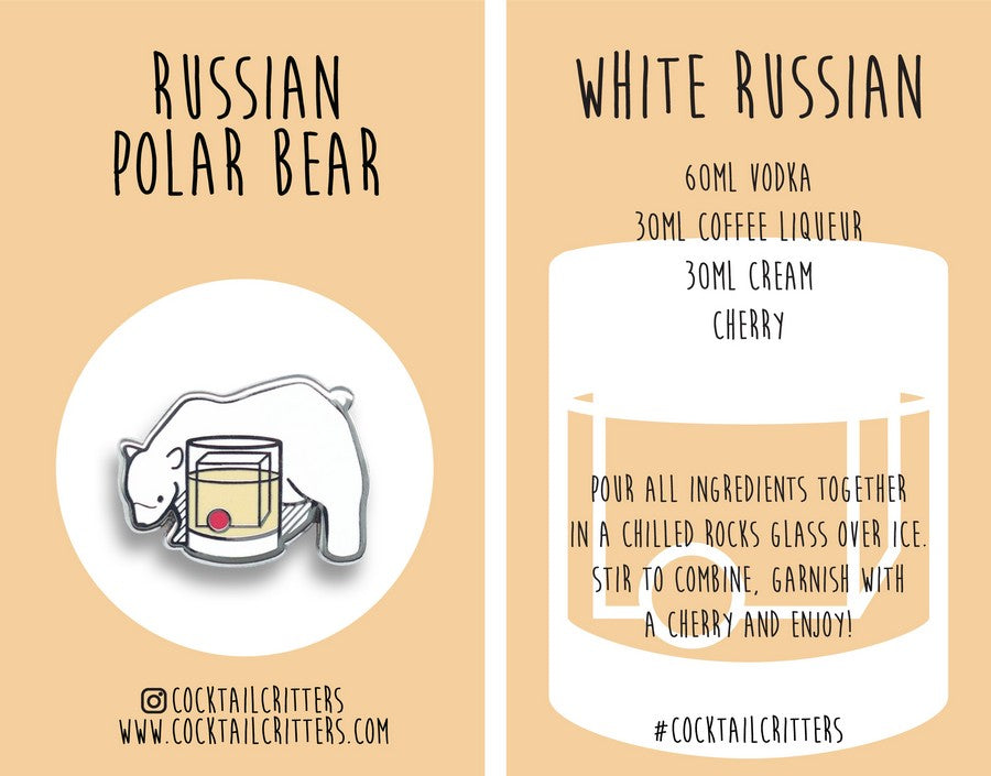 Bear x White Russian Hard Enamel Pin