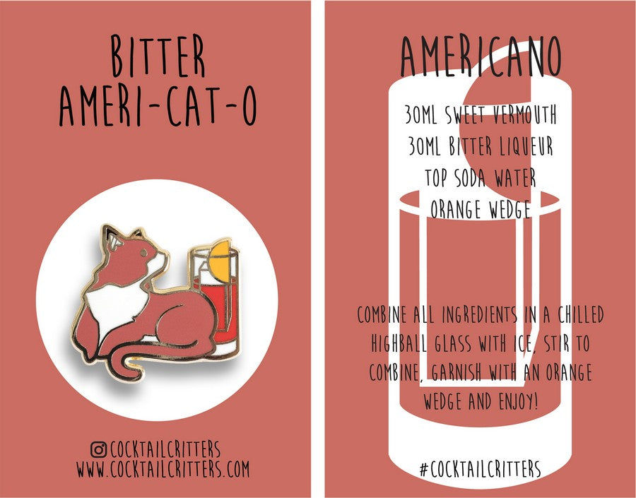 Cat x Americano Hard Enamel Pin