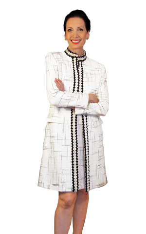 Boucle coat with trim