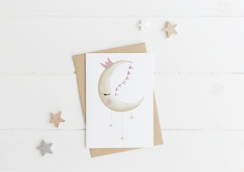 Bunting Moon Card & Envelope