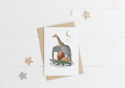 Safari Animals Card & Envelope