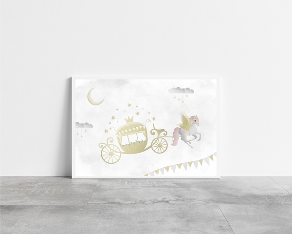 Whimsical Horse & Carriage Print