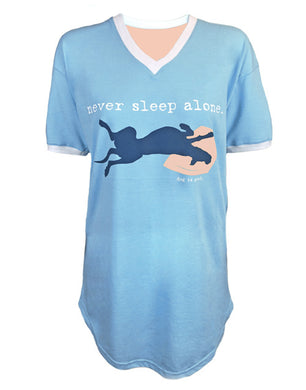 SLEEP SHIRT: NEVER SLEEP ALONE (LIGHT BLUE)