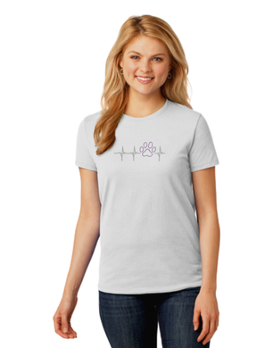 T-shirt: Heartbeat Purple Paw (Woman's)