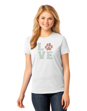 T-shirt: LOVE Paw in Red (Womens)