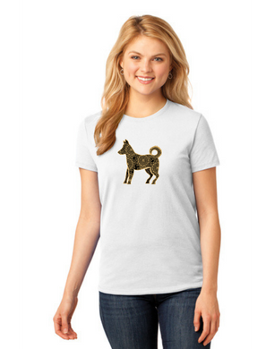 T-shirt: Golden Mandala Dog (Woman's)