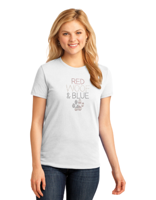 T-shirt: Red Woof & Blue (Woman's)