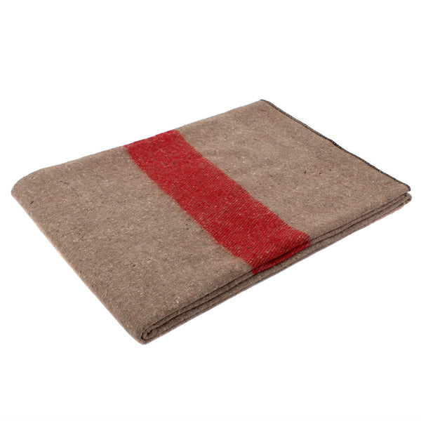 Swiss Style Wool Blanket - Tan/Red Strip