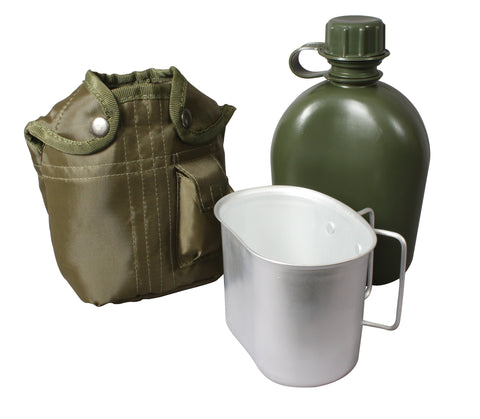 3 Piece Canteen Kit With Cover & Aluminum Cup - Delta Survivalist