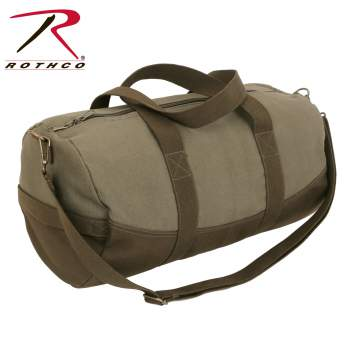 Two-Tone Canvas Duffle Bag With Brown Bottom