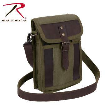 Canvas Travel Portfolio Bag With Leather Accents - Delta Survivalist