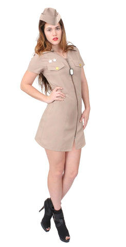 Women's Khaki Military Costume - Delta Survivalist