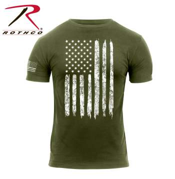 Distressed US Flag Athletic Fit T-Shirt