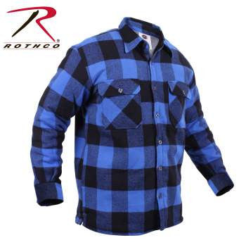 Extra Heavyweight Buffalo Plaid Sherpa-lined Flannel Shirts - Delta Survivalist
