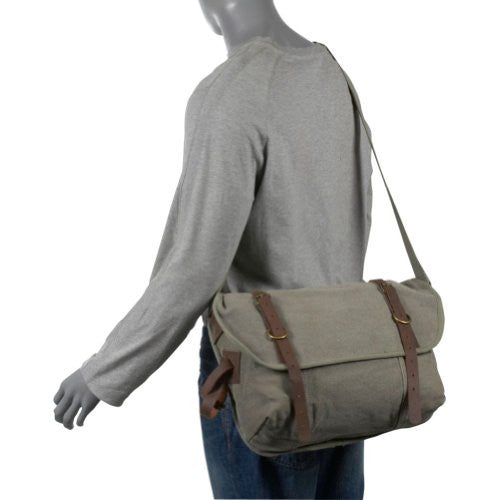 Vintage Canvas Explorer Shoulder Bag With Leather Accents - Delta Survivalist