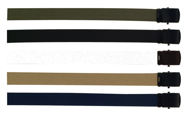 Military Web Belts w/ Black Buckle