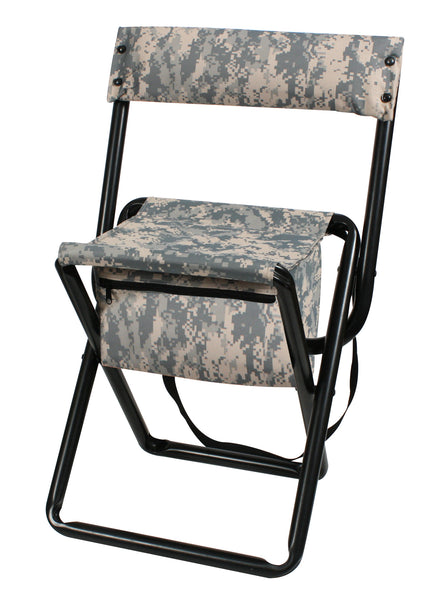 Deluxe Camo Stool With Pouch Back