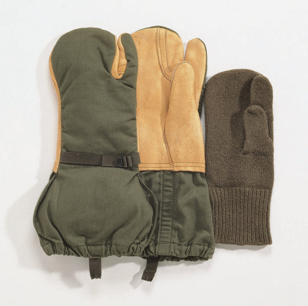 G.I. Surplus Leather Trigger Finger Mittens w/ Liner