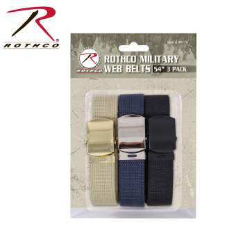 54 Inch Military Web Belts in 3 Pack - Delta Survivalist