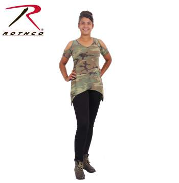 Womens Camo Cold Shoulder Top