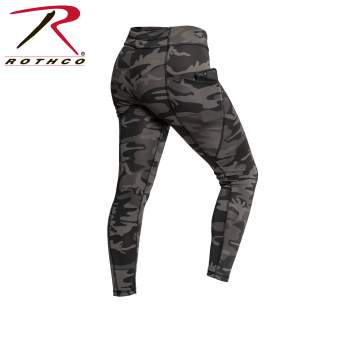 Womens Workout Performance Camo Leggings With Pockets - Black Camo - Delta Survivalist