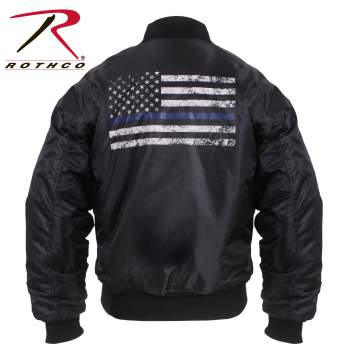Thin Blue Line Flag MA-1 Flight Jacket - Delta Survivalist