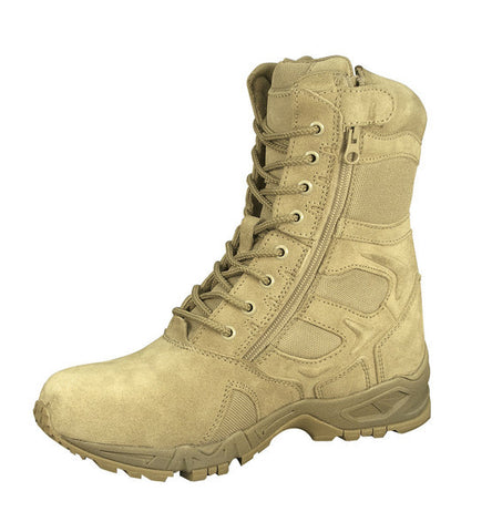 "Forced Entry Desert Tan 8"" Deployment Boots with Side Zipper - Delta Survivalist"