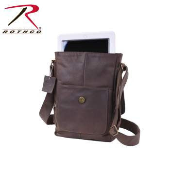 Brown Leather Military Tech Bag - Delta Survivalist