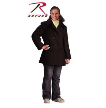 Women's Navy Type Black Wool Peacoat