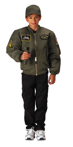 Kids Flight Jacket With Patches - Delta Survivalist