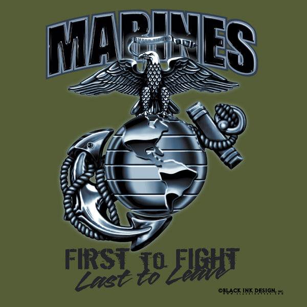 Black Ink Marines 'First To Fight' T-Shirt - Delta Survivalist