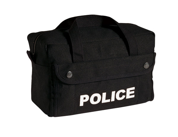 Canvas Small Police Logo Gear Bag - Black