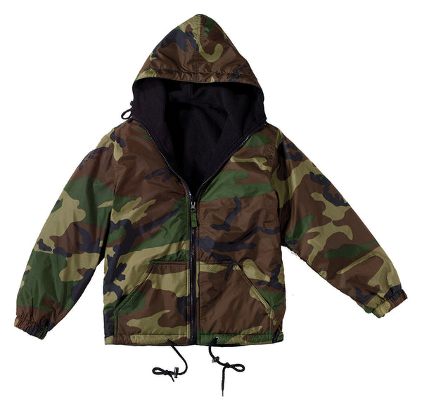Kids Reversible Camo Jacket With Hood