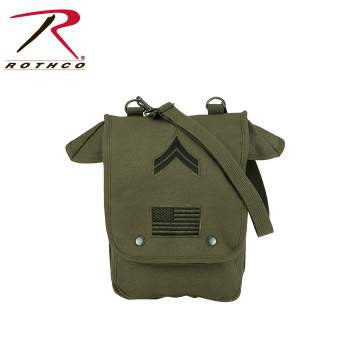 Canvas Map Case Shoulder Bag w/ Military Patches