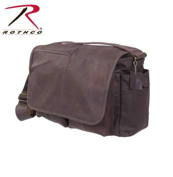 Brown Leather Classic Messenger Bag - Delta Survivalist