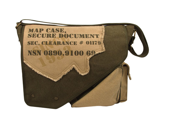 Vintage Canvas Two-Tone Imprinted Map Bag - Delta Survivalist