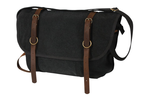 Vintage Canvas Explorer Shoulder Bag With Leather Accents