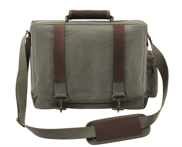 Vintage Canvas Pathfinder Laptop Bag With Leather Accents - Delta Survivalist