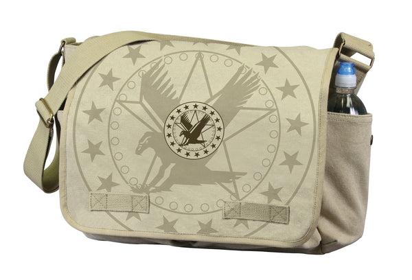 Vintage Canvas Messenger Bag - Khaki With Exploded Army Eagle Print