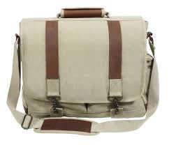 Vintage Canvas Pathfinder Laptop Bag With Leather Accents