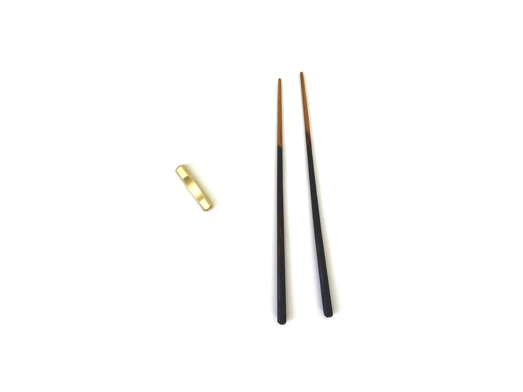 Charred Chopsticks with brass rest