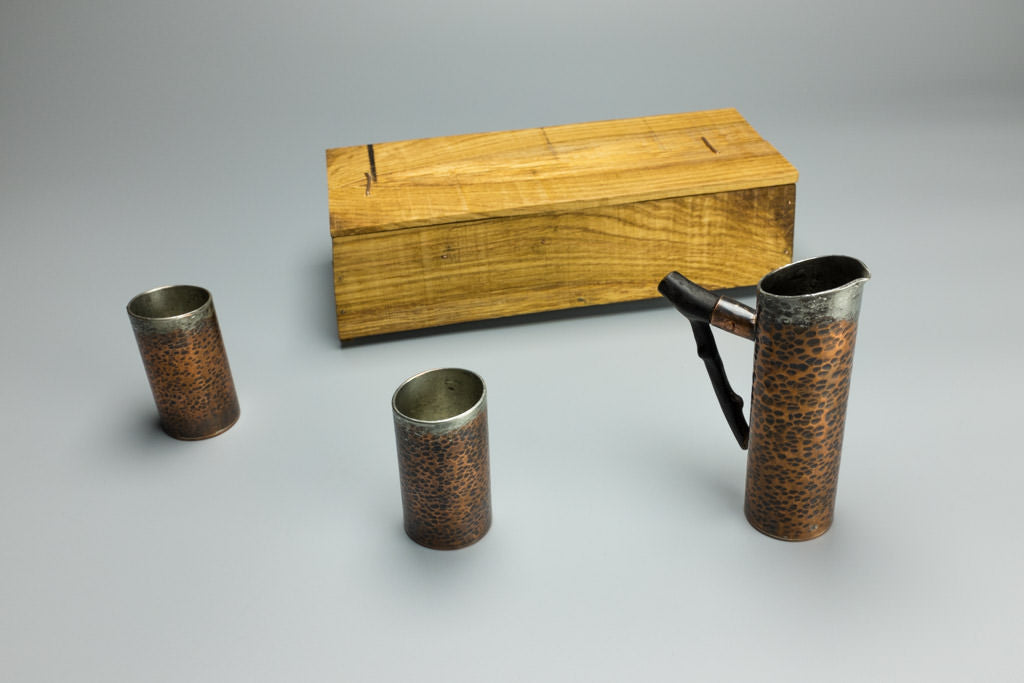 Copper Sake Set with Wooden Box