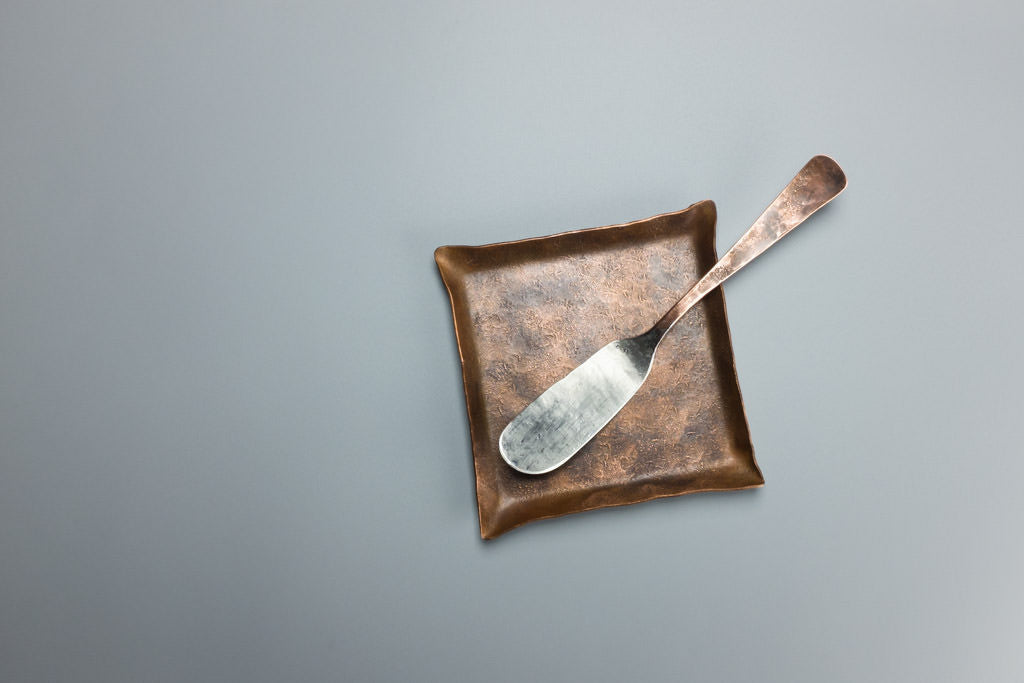 Copper Patina Plate with Tinned Copper Knife