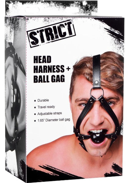 Strict Head Harness with Ball Gag 1.5in - Black